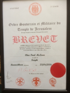 Certificate, Paul, Knights Templar, Bannockburn 2006 he became a Knight.