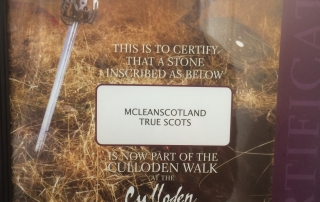 Certificate, MCLEANSCOTLAND having stone laid down at the Culloden battlefield Museum.