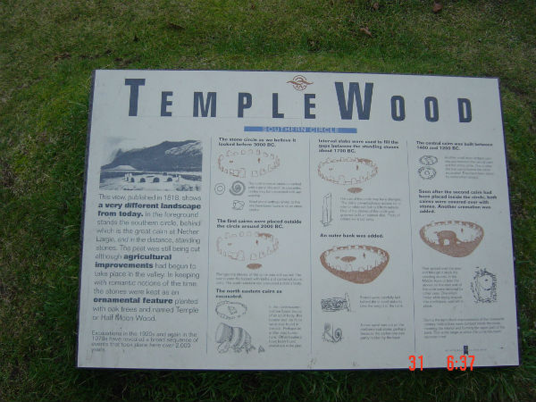 A board at Temple Woods, western Scotland