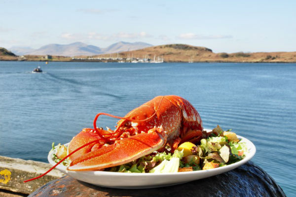 A plate of seafood in Oban