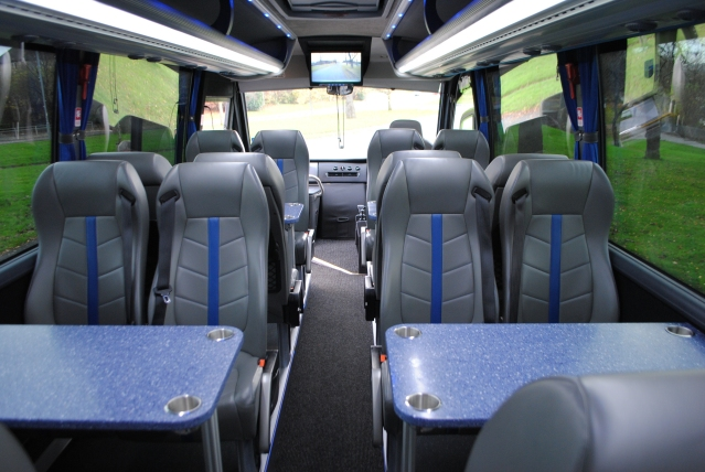 Mini coach interior for touring Scotland