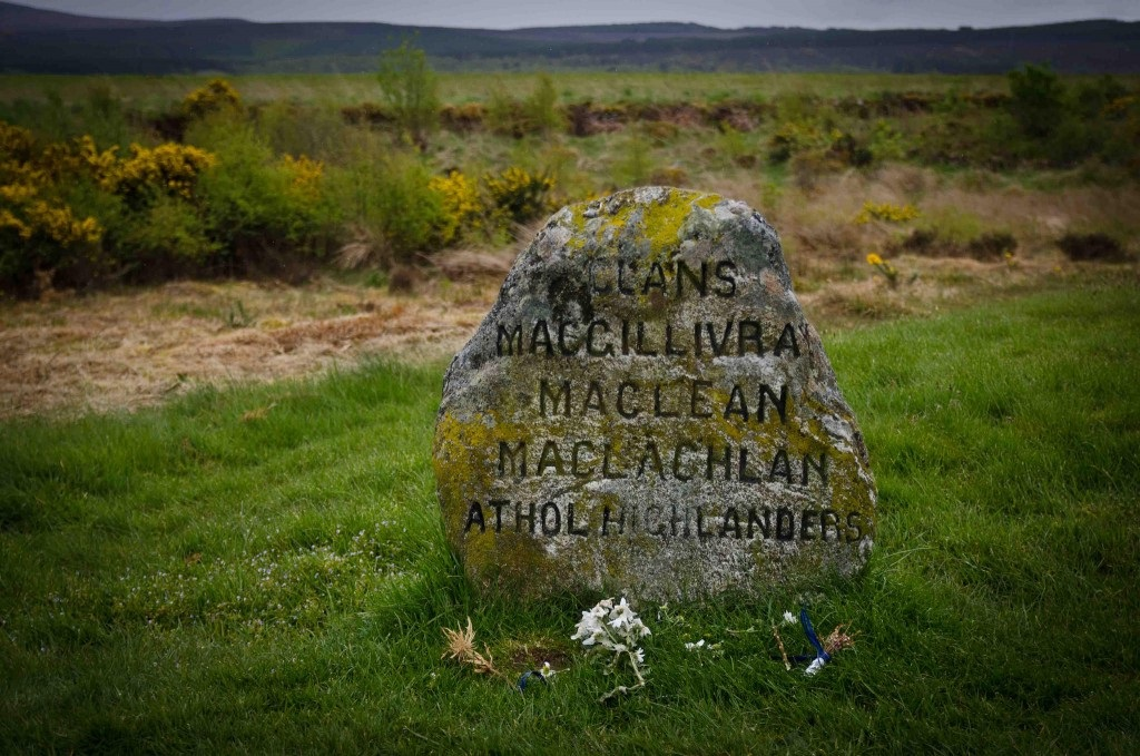 one of the many clan marker stones at Culloden Battlefield