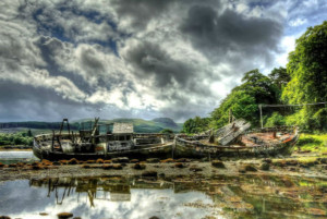 Two wrecked boats at Salen, Isle of Mull