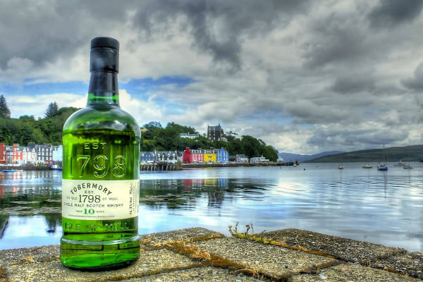 A bottle of Tobermory Whisky on The Isle of Mull
