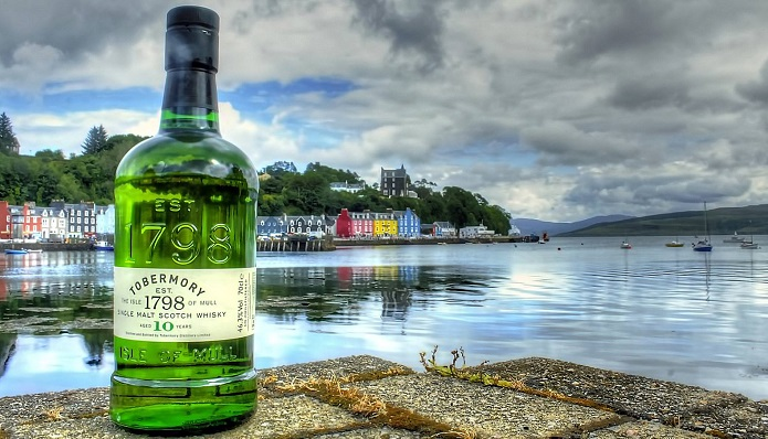 Bottle of Tobermory Whisky in Tobermory, isle of Mull