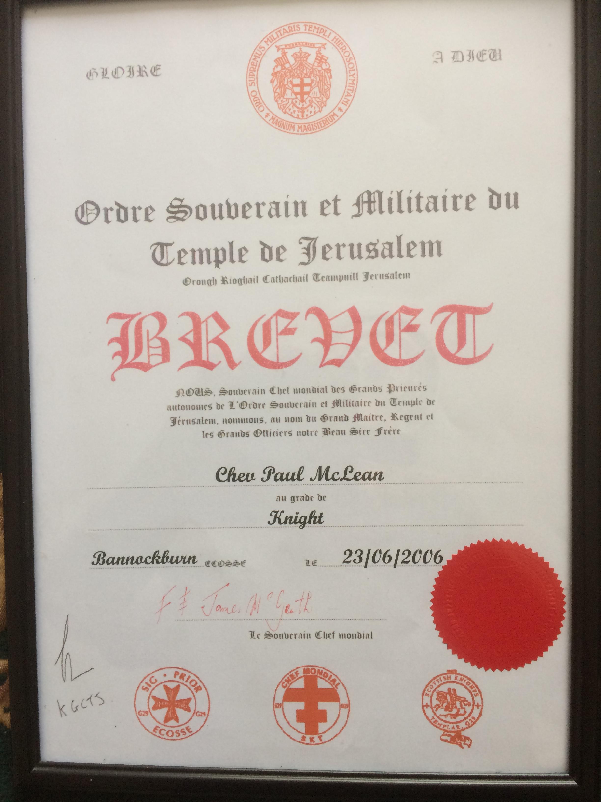 Certificate, Paul, Knights Templar, Bannockburn 2006 he became a Knight.