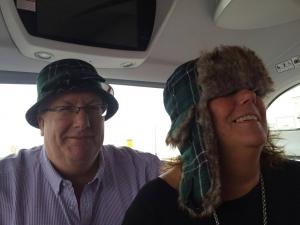 Paul and Liz sporting maclean tartan