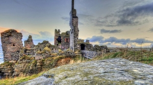 The ruins of Sinclair castle on the coast of Caithness