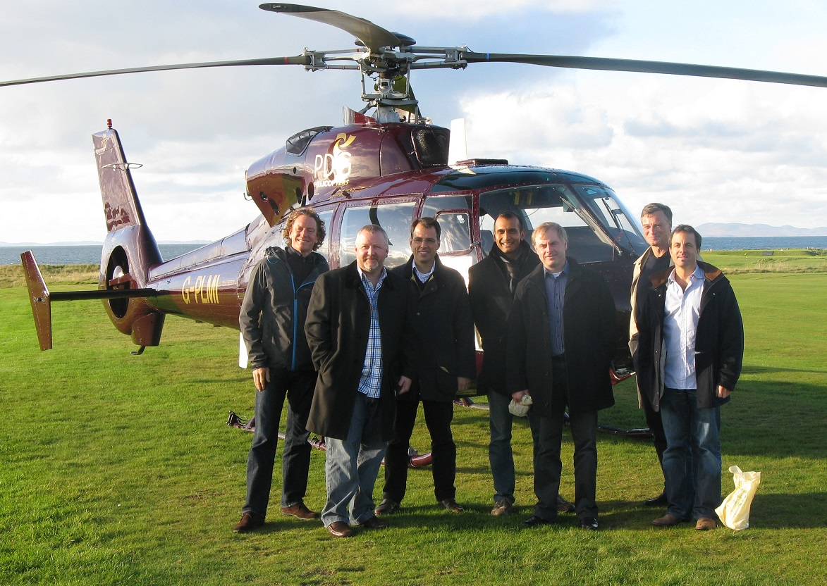 a helicopter chartered for some of our whisky guests