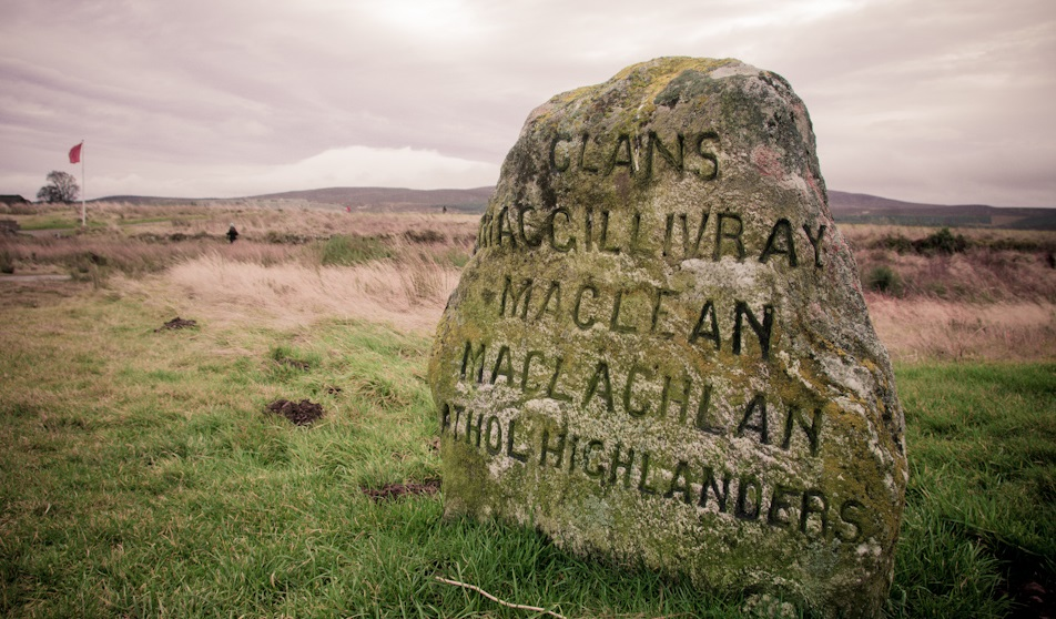 Simple Tombstone at Culloden Battlefield in the Highlands of Sco
