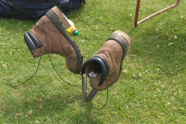 the boots of a big competitor at a Scottish highland games